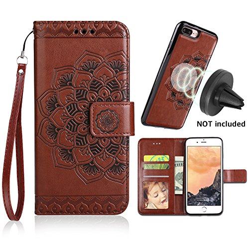 CASEOWL iPhone 8 Plus Case,iPhone 7 Plus Flip Embossed Leather Wallet Cases with Protective Detachable Slim Case Fit Car Mount, Mandala Flower Design with Card Slots, Strap for iPhone 7/8 - Car Wallet Case