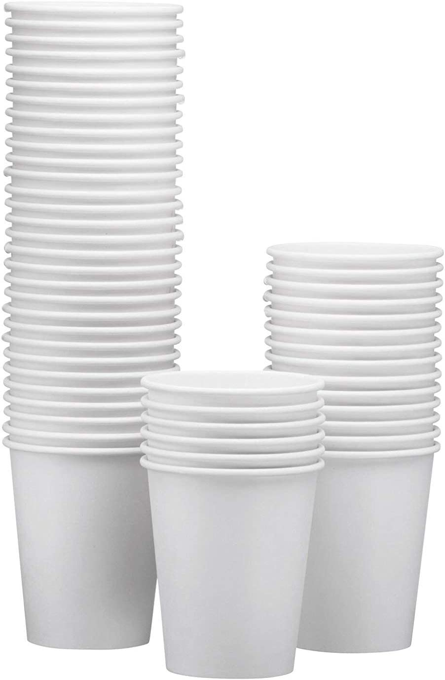 NYHI 50-Pack White Paper Disposable Cups – Hot/Cold Beverage Drinking Cup for Water, Juice, Coffee or Tea – Ideal for Water Coolers, Party, or Coffee On the Go' (12 oz)