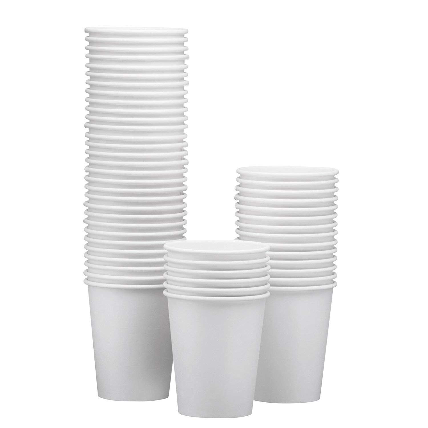 NYHI Disposable & Reusable Paper Espresso Cups – White - For Hot/Cold Coffee, Tea & Chocolate, Water, Beverages – Pack Of 50 - Extra Thick And Sturdy With Rolled Rim Made In USA (10 Ounce)