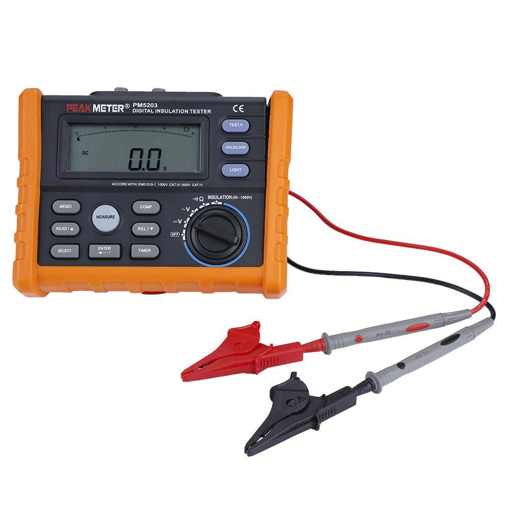 Akozon Earth Resistance Tester PM5203 Digital Insulation Resistance Tester Megohmmeter AC DC Voltage Tester Analog Display 50-1000V Meter Automatic Calculation