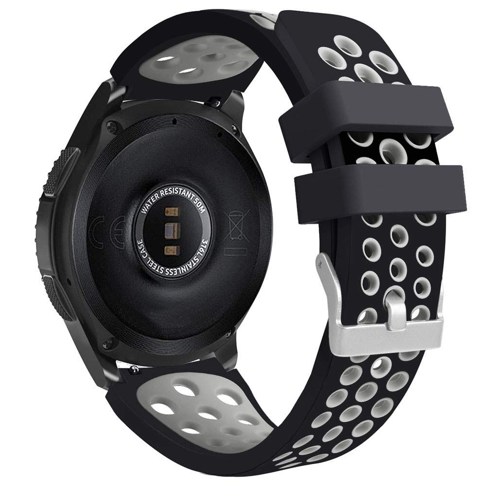 riou Electrónica Riou_Correa para Reloj,para el Reloj de Samsung Galaxy 46mm Banda de la Correa de la Pulsera del silicón de los Deportes del Doble ...
