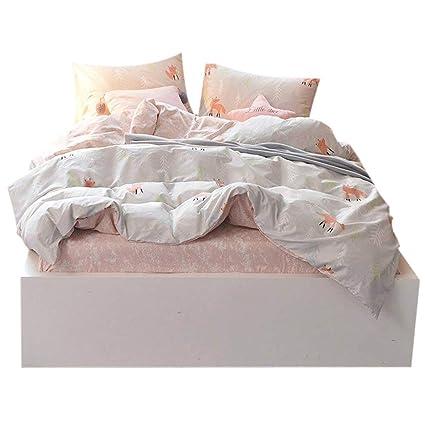 FenDie Duvet Cover Set Light Gray Forest Tree Pattern Animal Fox Printed  Cotton Teens Bedding Set