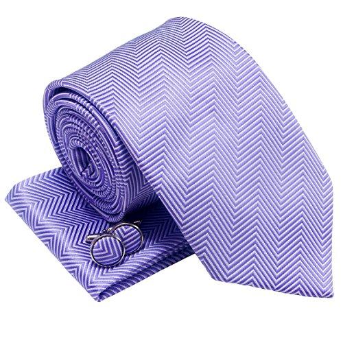 Herringbone Stripe Woven Men's Tie Necktie with matching Pocket Square and Cufflinks, Gift Box Set as Christmas Gift, Birthday Gift - Purple (Square Cufflinks Purple)