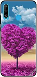 For Huawei P30 Lite Case Pink Heart Tree & Leaves