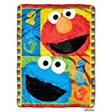 """Sesame Street, 1, 2, 3 Play with Me Micro Raschel Throw, 46 by 60"""""""