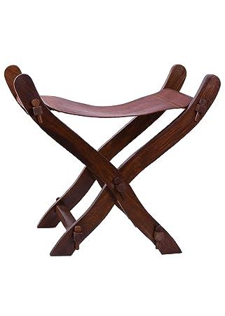 Unbekannt Moyen Ge Ciseaux Chaise Avec Sige En Cuir LARP Roulement Vie Viking Tabouret