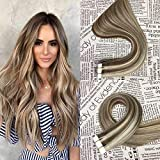 HIKYUU 16' 30g/20pcs Tape in Hair Extensions Human Hair Brown Highlighted Skin Weft Seamless Remy Tape ins Light Brown Highlights with Blonde