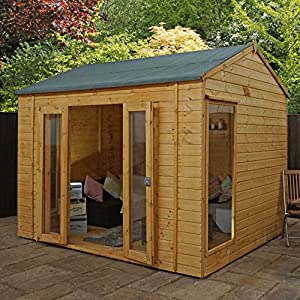 WALTONS-EST-1878-10x8-Wooden-Traditional-Garden-Summerhouse-Shiplap-Construction-Dip-treated-with-10-year-guarantee-Includes-Double-Doors-Reverse-Apex-Roof-Floor-Roof-Felt-and-Styrene-Safety-Windows-1