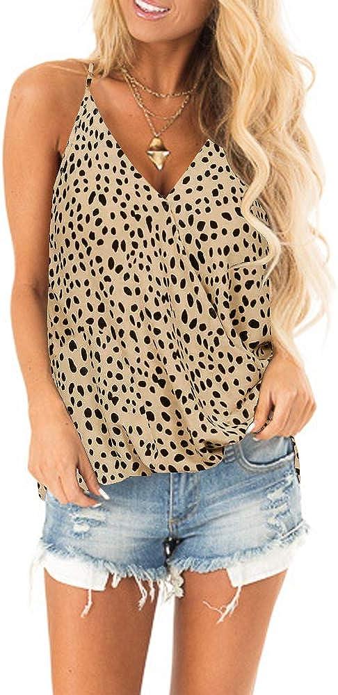 SAUKOLE Womens Adjustable Spaghetti Strap Button Down Shirts Blouses V Neck Floral Print Summer Sleeveless Casual Tank Tops