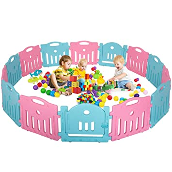 114387e557e01 Amazon.com   Baby Playpen Baby Play Yard Safety Kids Indoor 14 Panel Baby  Fence with Gate   Baby