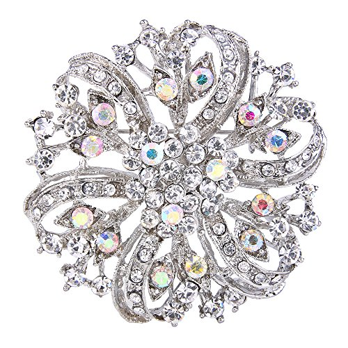 EVER FAITH Austrian Crystal Vintage Inspired Bridal Flower Brooch Corsage Rainbow Color Silver-Tone ()