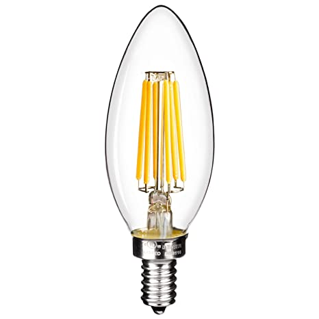 LED 6-Watt Filament Chandelier Light Bulb, Dimmable, Warm White ...