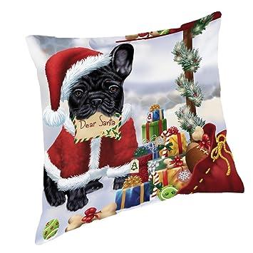 Amazon french bulldogs dear santa letter christmas holiday french bulldogs dear santa letter christmas holiday mailbox dog throw pillow 26x26 spiritdancerdesigns Images