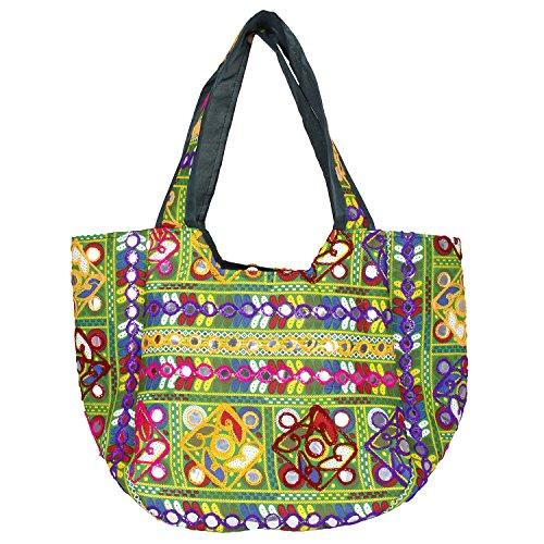 Floral Embroidered Tote Hand-Cum-Shoulder Bag with Cotton Elegant (Green) - Floral Embroidered Tote