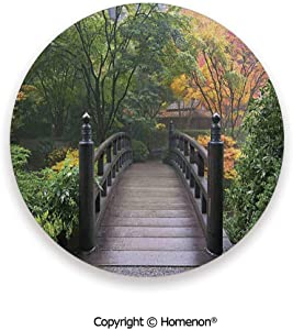 Wooden Bridge at Portland Japanese Garden Oregon in Foggy Autumnal Morning Park,Ceramic Stone With Cork Back Green Coral,3.9×0.2inches(4PCS),Prevent Furniture From Dirty Scratched