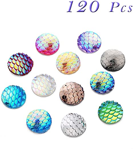 100 Pcs 12 mm Round Fish Skin Cabochon in Resin Flatback for Jewelry Making