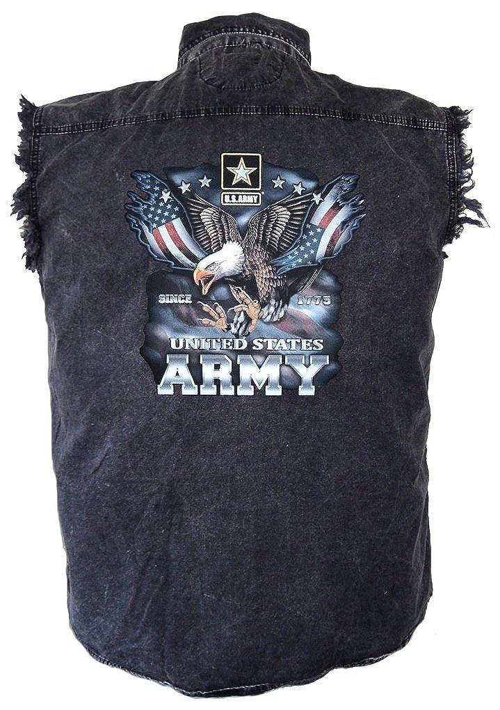 Leather Supreme Mens U S Army Eagle Flags Patriotic Denim Cutoff Biker Shirt