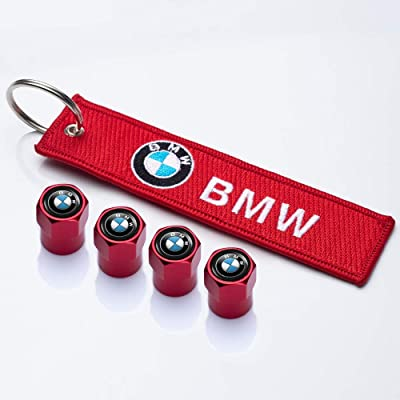 PATWAY 5 Pcs Metal Car Wheel Tire Valve Stem Caps Suit for BMW X1 X3 M3 M5 X1 X5 X6 Z4 3 5 7Series with Embroidered Tag Keychain Key Ring Logo Styling Decoration Accessories: Automotive