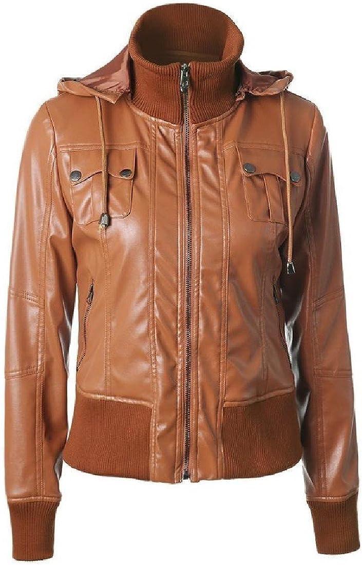 Kankanluck Women PU Leather Jacket Removable Hooded Motorcycle Coat