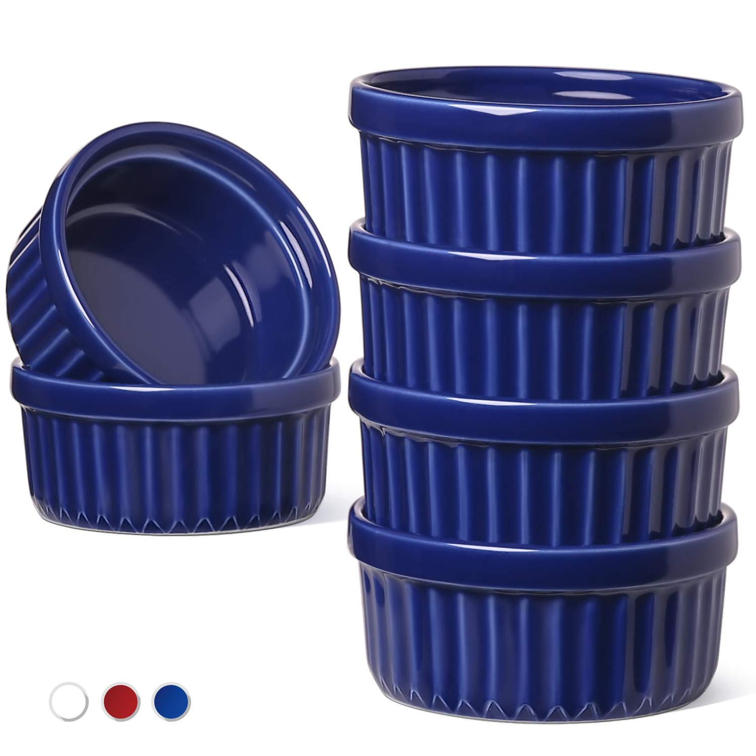 LE TAUCI Ramekins 4 Oz, Creme Brulee Dishes, Ramekin Set for Souffle, Dipping Sauces, Pudding, Set of 6, True Blue by LE TAUCI