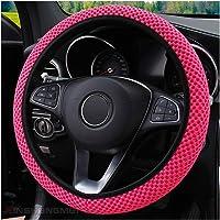 Steering Wheel Cover Elastic Ice Silk, Rose Pink Steering Wheel Cover,Mesh Macrofiber,Anti-Slip,Breathable Steering…
