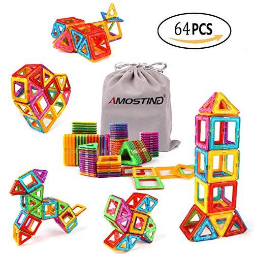 AMOSTING Magnet Building Tiles, Magnetic 3D Building Blocks Set for Kids, Magnetic Educational Stacking Blocks Boys Girls Toys, 64 Piece (Magnetic Building Kids)