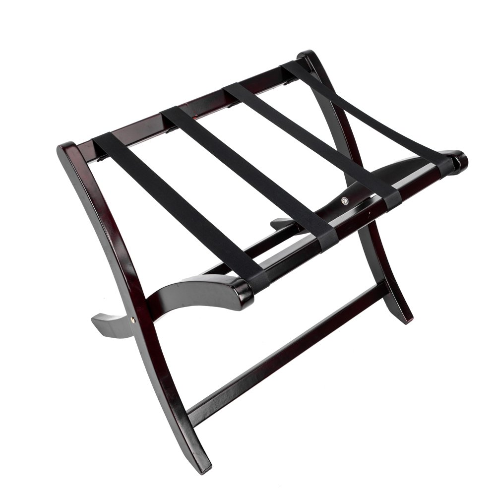 Leadzm Portable Home Wood Folding Luggage Rack with Elastic Straps, Suitcase Stand Holder, Wood Color