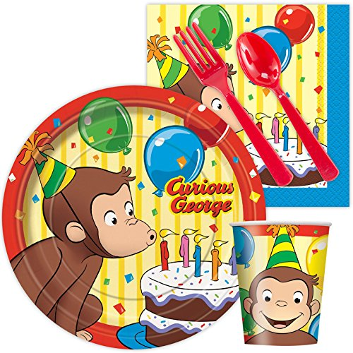 Curious George Birthday Standard Kit Serves 8 Guests by (Curious George Party)