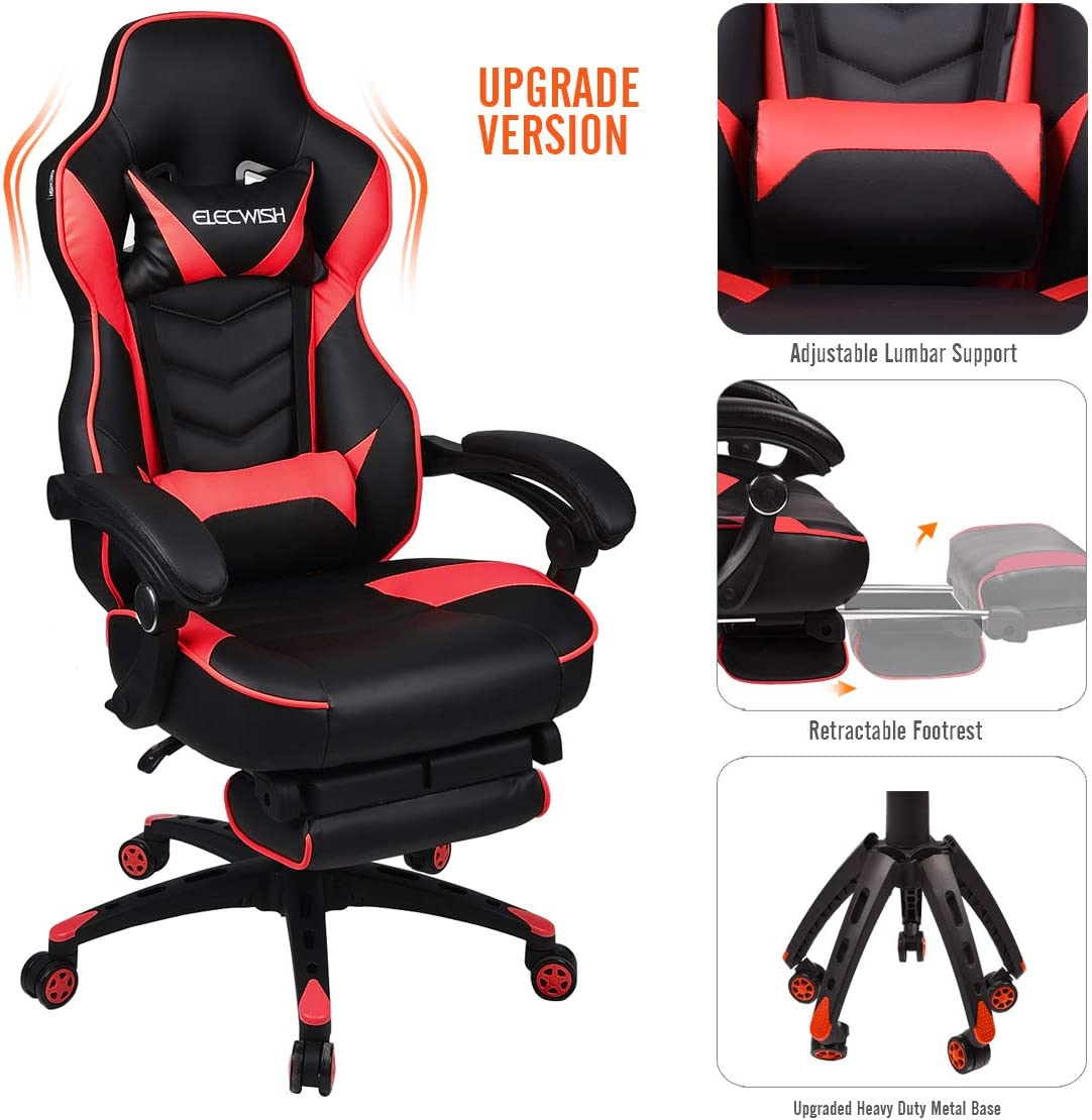 YOURLITEAMZ Video Gaming Chair Racing Office - PU Leather High Back Ergonomic 170 Degree Adjustable Swivel Executive Computer Desk Task Large Size with Footrest,Headrest and Lumbar Support (Red)