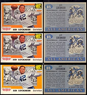 Amazon.com  1955 Topps Regular (Football) Card  85 Sid Luckman of the  columbia ExMt Condition  Collectibles   Fine Art 4baf2085c