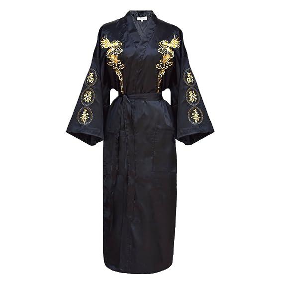 kimono japonés para mujer, bata elegante estilo chino negro: Amazon.es: Ropa y accesorios