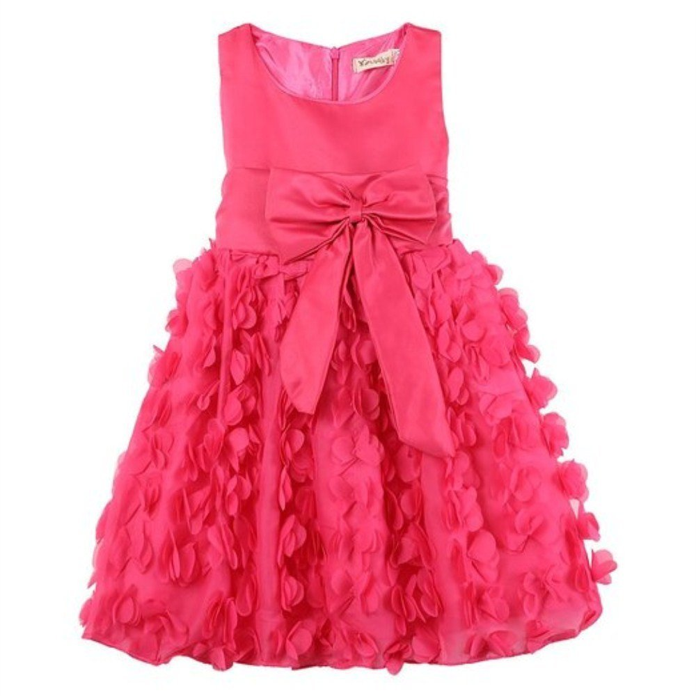 BUYEONLINE Kid Girls Fancy Wedding Party Bowknot Princess Dress 6-12 Months,Rose Red