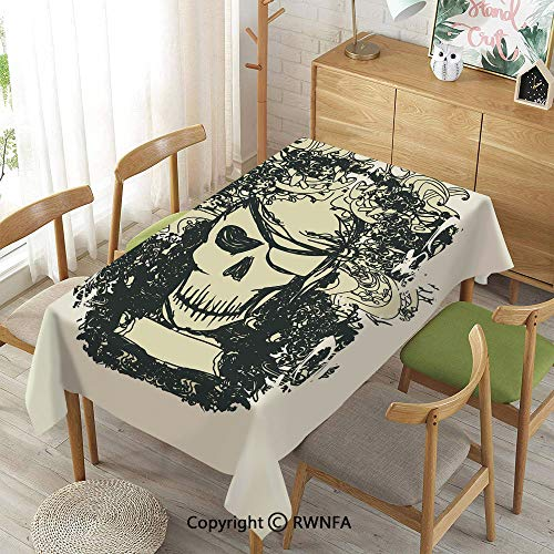 Homenon Decorative Rectangular Table Cloth,Skull of Pirate Retro Grunge Style Skeleton Doodle Deadly Scary Character Decorative,Indoor Outdoor Camping Picnic,Cream Black Beige,52