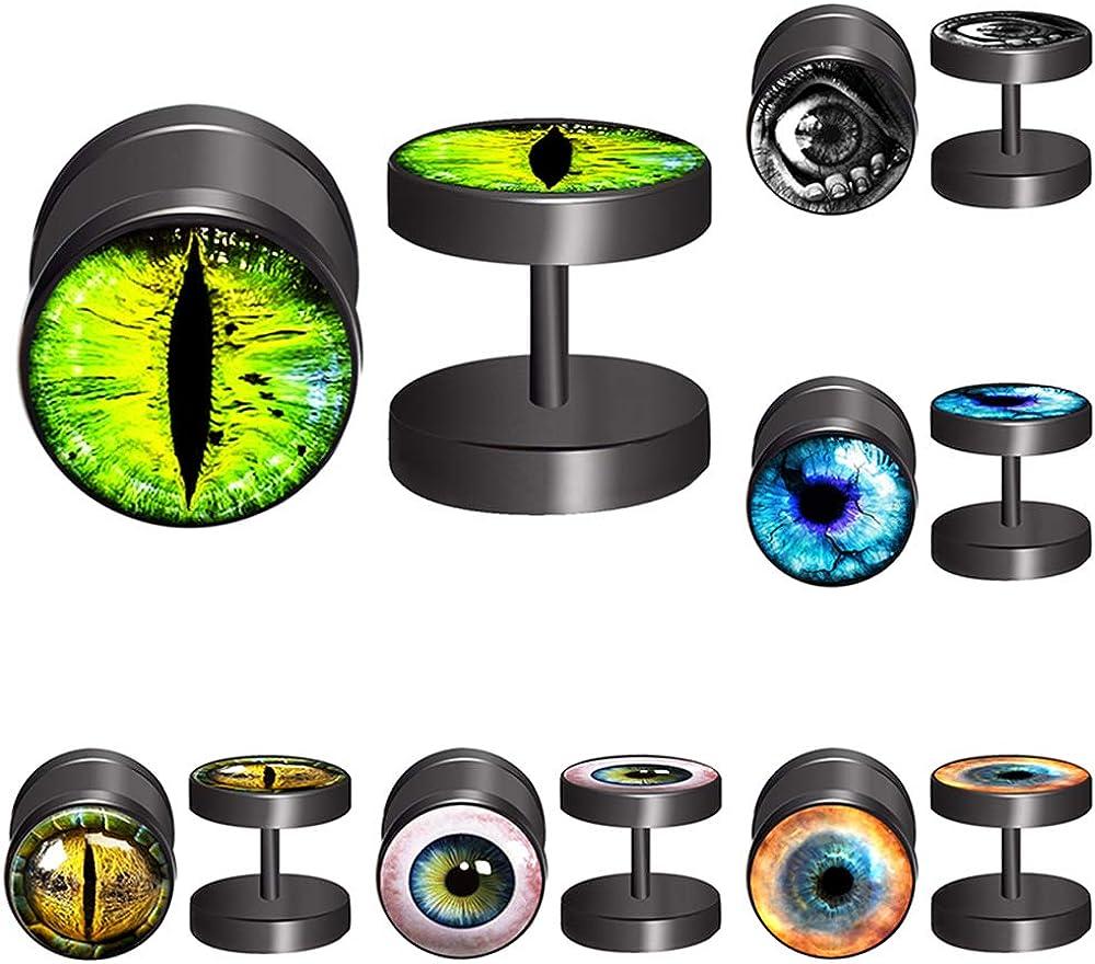 FLYUN 6Pairs 10MM Eyeball Black Screw Stud Earrings for Men Women Steel Cheater Fake Ear Plugs Gauges Illusion Tunnel