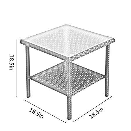 Patio Side Table Coffee Table Tea Table Silver Gray Rattan Outdoor Indoor Square Table Balcony Small End Table
