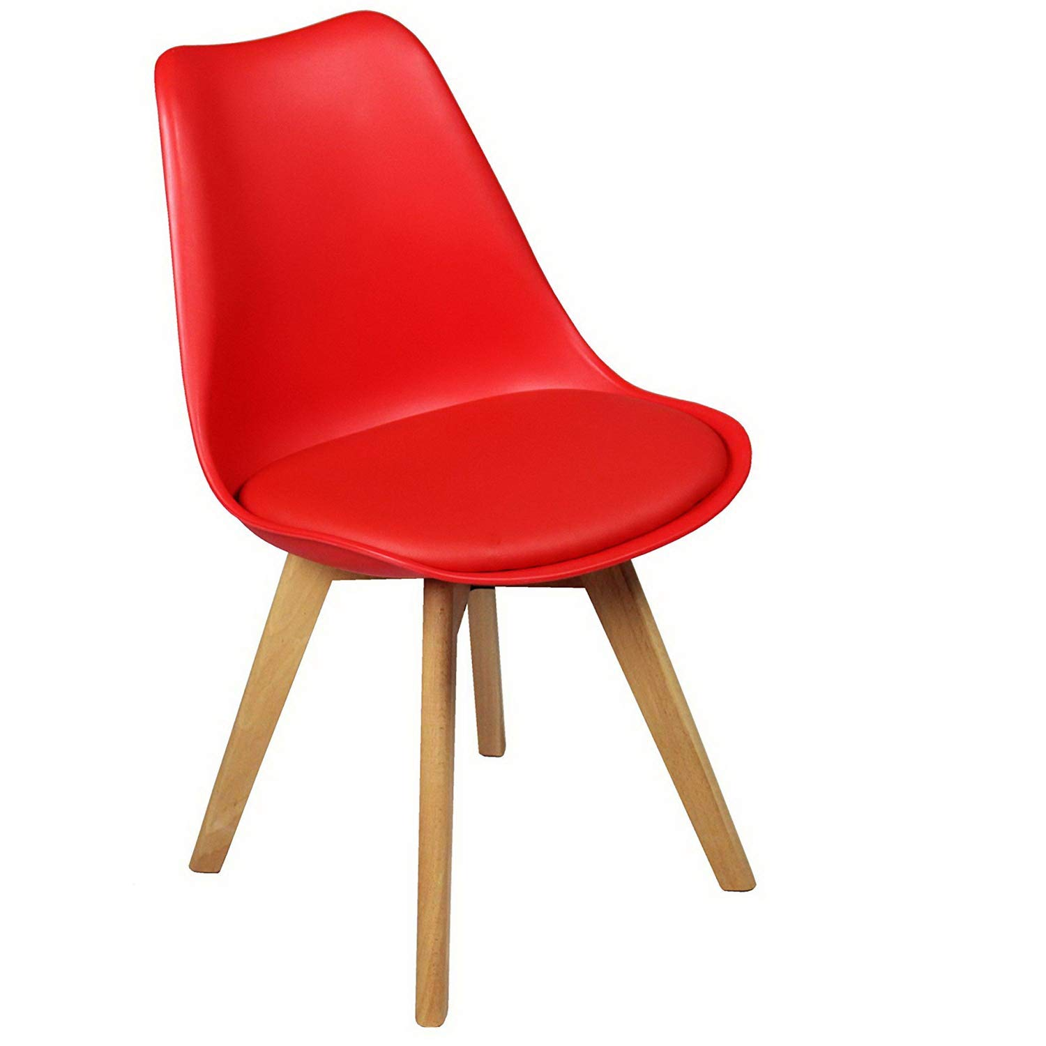 2 x Charles Jacobs Modern Tulip Style Chairs With Solid Beech Legs - Choice of Colours (Black)