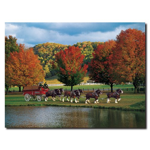 Clydesdales Fall by a Pond by Budweiser, 18×24-Inch Canvas Wall Art