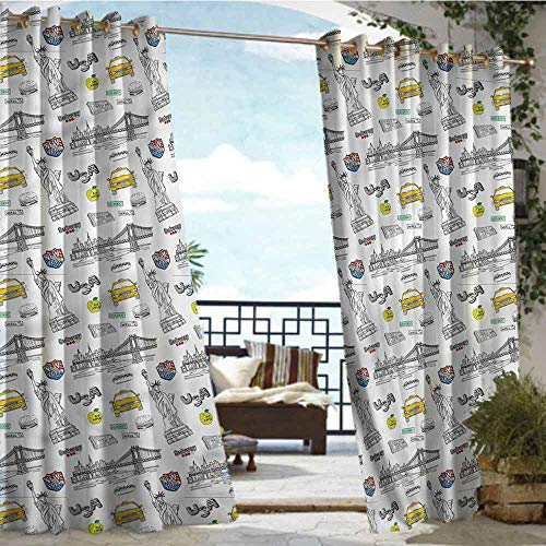 crabee Balcony Curtains American,New York Statue of Liberty,W72 xL84 Outdoor Patio Curtains Waterproof with Grommets