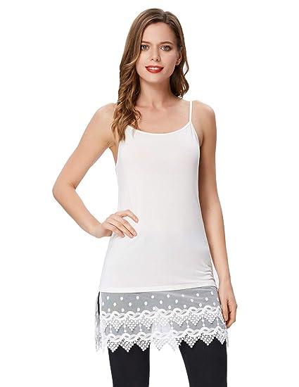 f701d8e381be9 Kate Kasin Soft House Wear Crochet Lace Layered Cami Dress Tee(S,White 1058