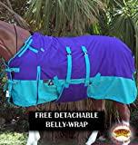 HILASON 1200D Winter Waterproof Horse Blanket Belly Wrap Purple Turquoise