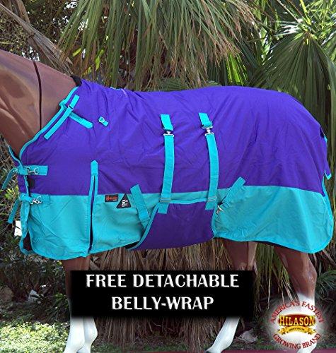 HILASON 75″ 1200D Winter Waterproof Horse Blanket Belly Wrap Purple