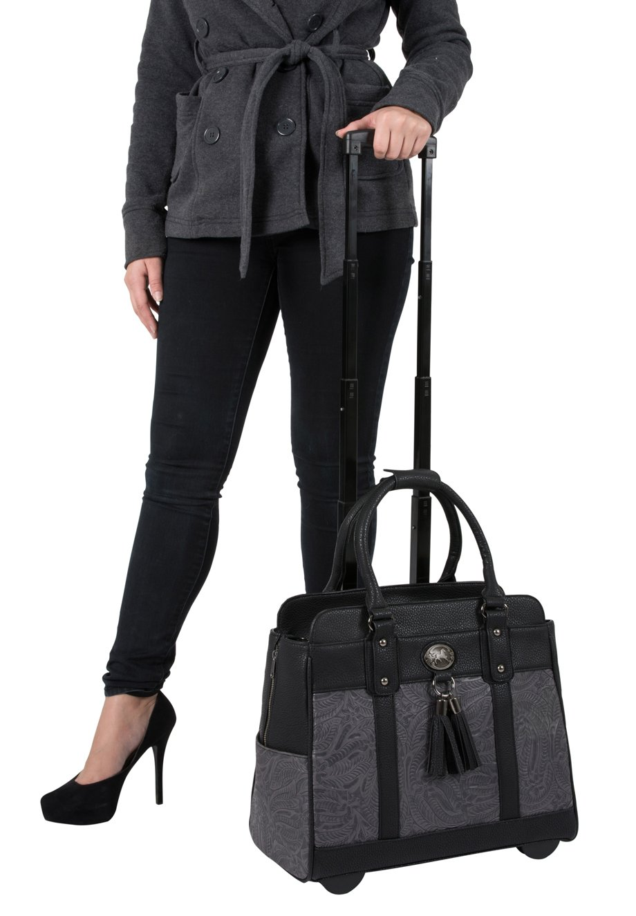 ''The Dallas'' Black & Grey Tooled Rolling iPad Tablet or Laptop Tote Carryall Bag by JKM and Company