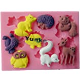 Yunko 8 Hole Cute Animal 3d Silicone Fondant Cupcake Cake Decoration Tools Candy Chocolate Mold Owl Deer Wolf Pig Squirrel Hedgehog Skunk