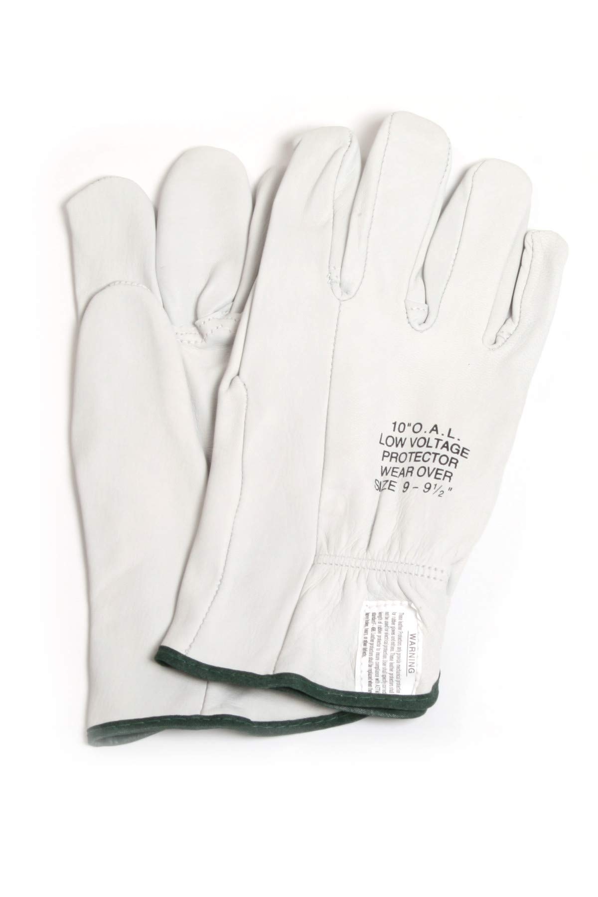 National Safety Apparel DWH10L9 Leather Protectors, 10'', Size 9 Gloves, White