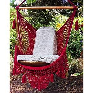 Handmade Red Cotton Hammock - With Crochet Edging
