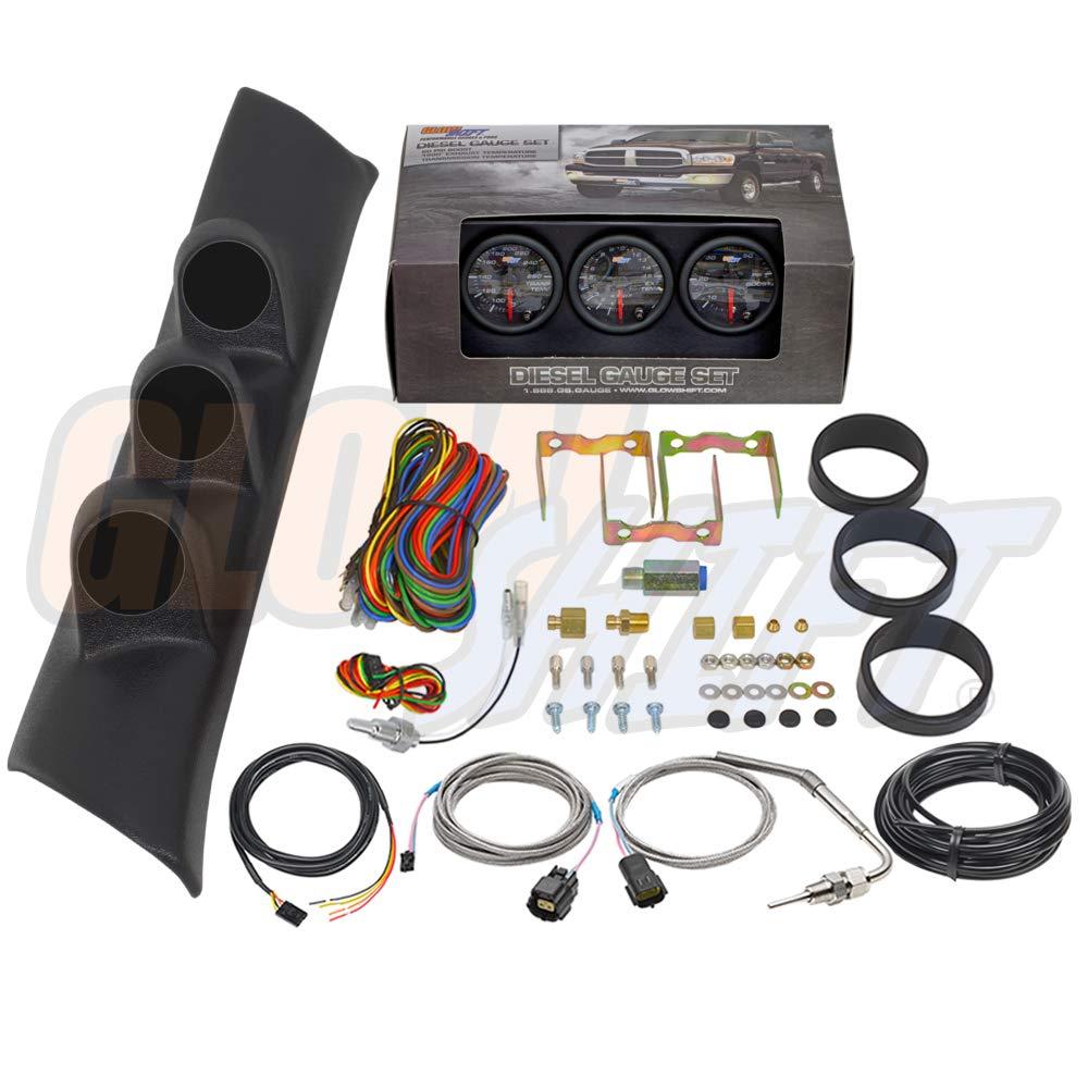 GlowShift Diesel Gauge Package for 1994-1997 Dodge Ram Cummins 2500 3500 - Black 7 Color 60 PSI Boost, 1500 F Pyrometer EGT & Transmission Temp Gauges - Black Triple Pillar Pod