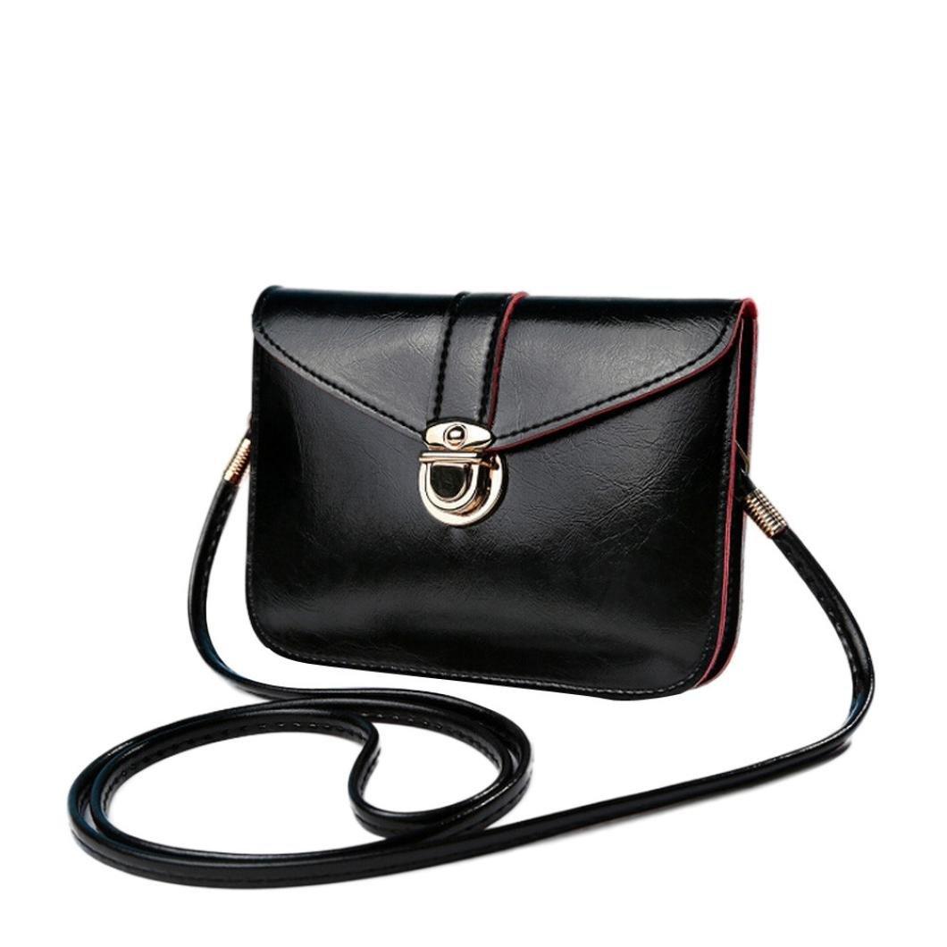 Outsta Fashion Messenger Purse Bag,Leather Handbag Single Shoulder Phone Bag Coin Bag Travel Backpack Classic Basic Casual Daypack (B)