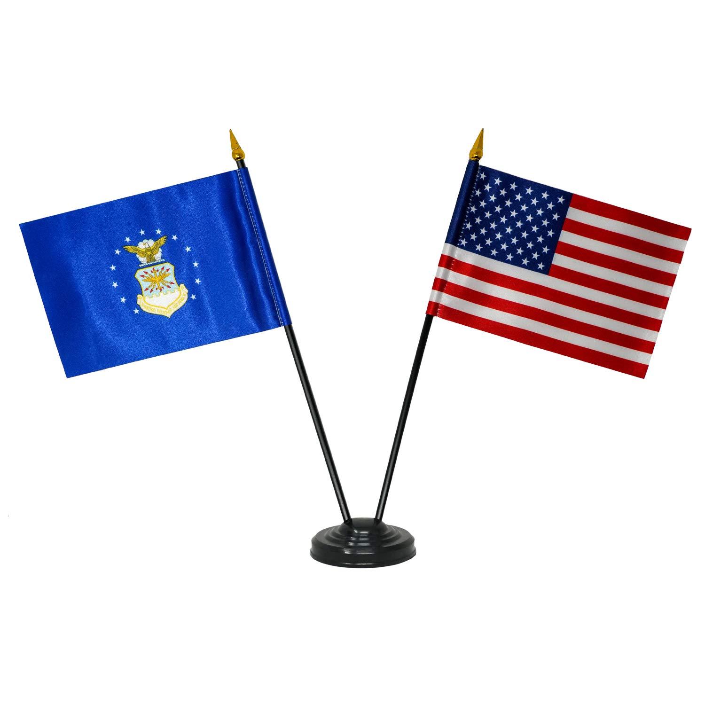 Miniature U.S. Air Force Flag and Miniature USA Flag - Desk Flag Set with Base