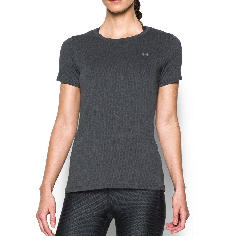 Under Armour Women's HeatGear Armour Short Sleeve, Carbon Heather (090), X-Small