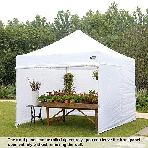 Eurmax 10'x10′ Ez Pop-up Canopy Tent Commercial Instant Tent 4 Removable Zipper End Side Walls Roller Bag, Bonus 4 SandBags (White)